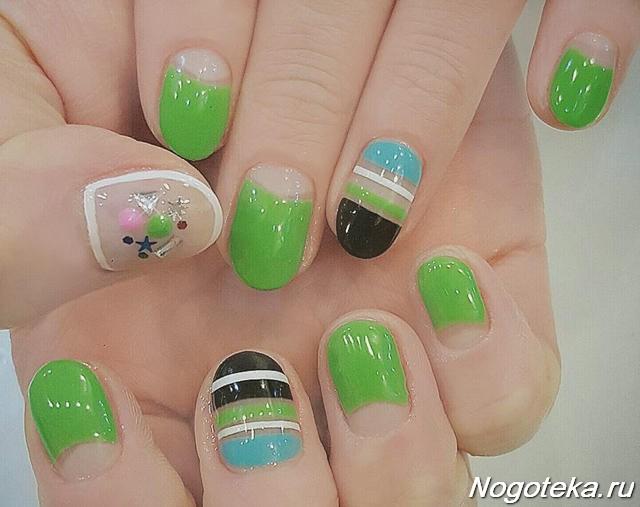 Зеленый лунный маникюр