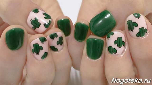 Зеленый маникюр с кактусами