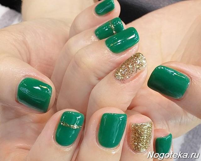 ногти зеленые с золотом если