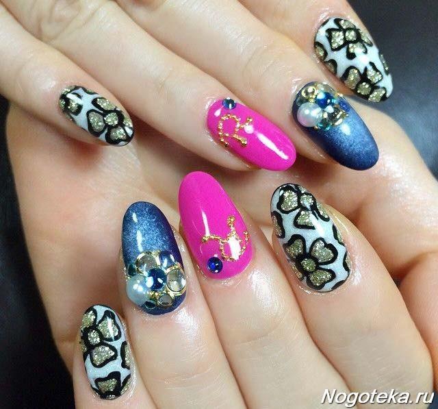 Дизайн ногтей разными цветами