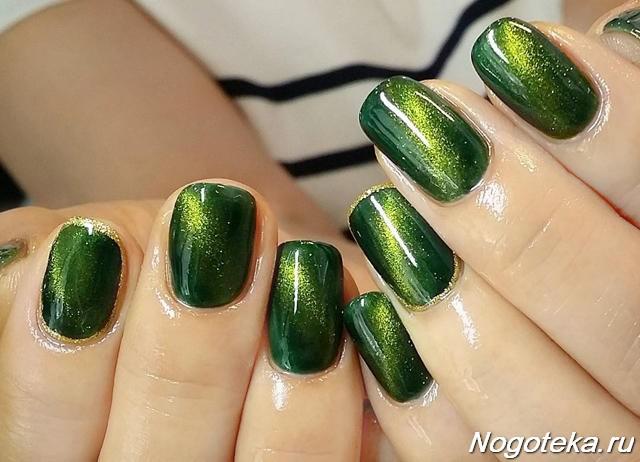 Маникюр с зеленых тонах фото