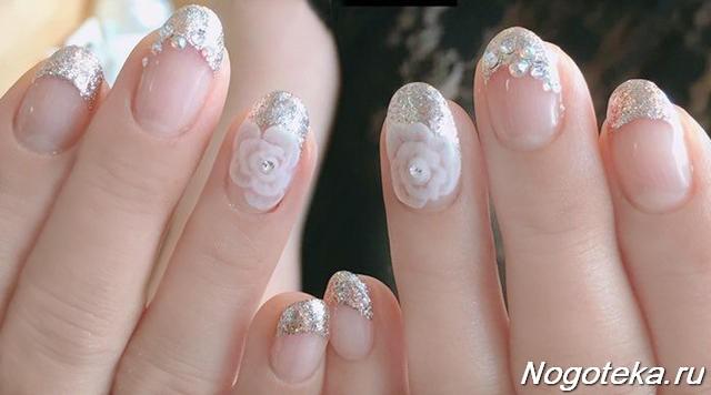 Серебряный френч: фото идеи дизайна на ногтях